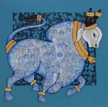 Animals Acrylic Art Painting title 'Nandi 45' by artist Vivek Kumavat