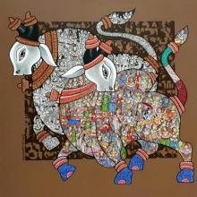 Animals Acrylic Art Painting title A Spiritual Story by artist Vivek Kumavat