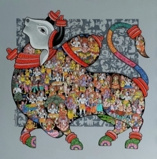 Animals Acrylic Art Painting title 'Nandi 56' by artist Vivek Kumavat