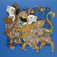 Animals Acrylic Art Painting title 'Nandi 60' by artist Vivek Kumavat