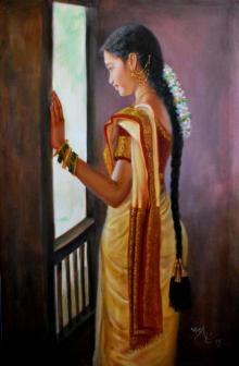 Figurative Oil Art Painting title Girl By Window by artist Vishalandra Dakur