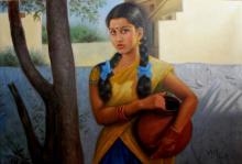 Figurative Oil Art Painting title Girl With Pot Of Water by artist Vishalandra Dakur
