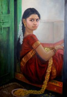 Figurative Oil Art Painting title Girl By Door by artist Vishalandra Dakur