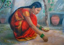 Figurative Oil Art Painting title Girl Laying Kolam by artist Vishalandra Dakur