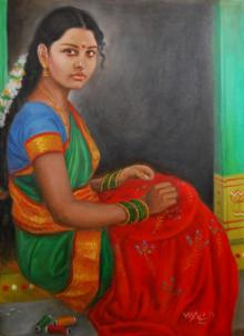 Figurative Oil Art Painting title Girl Doing Embroidery by artist Vishalandra Dakur