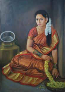 Figurative Oil Art Painting title Girl Sitting by artist Vishalandra Dakur