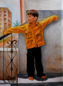 Figurative Oil Art Painting title Boy Playing by artist Vishalandra Dakur