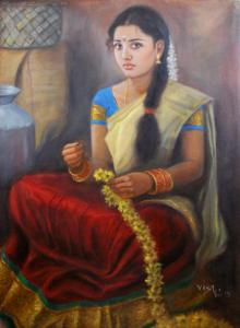 Figurative Oil Art Painting title 'Girl With Flowers' by artist Vishalandra Dakur