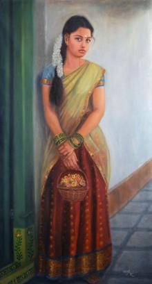 Figurative Oil Art Painting title Girl To Temple by artist Vishalandra Dakur