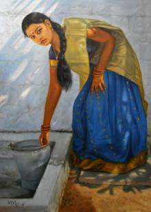 Figurative Oil Art Painting title 'Girl Washing' by artist Vishalandra Dakur