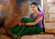 Figurative Oil Art Painting title Girl At Temple by artist Vishalandra Dakur