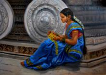 Figurative Oil Art Painting title Girl By Humpi Wheels by artist Vishalandra Dakur