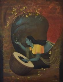 lady,women,red,yellow,feather,pecock feather,dance,devotee,love,pot,dhunn,dance with krishna,magan,green,brown,orange,durshitbhaskar,udaipur