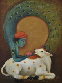 krishna,flute,contemporary art,contemporary painting,durshit bhaskar,oil on canvas,cow,calf,pecockbody,pecock,more,lotus,krishnalife,abstract,flowers,blue,