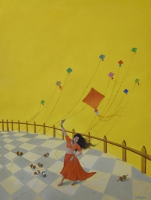 paintings, girl, kites, wind, beauty , whimsy, warm, woman, lady, breeze, fly, red, teal ,yellow ,poppies,durshitbhaskar,oiloncanvas,udaipur,rajasthan,kite