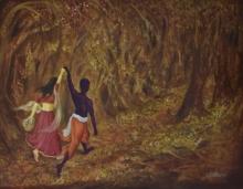 krishna,flute,contemporary art,contemporary painting,durshit bhaskar,oil on canvas,abstract,flowers,blue,brown,black,orange,white,halo,minitaure work,radar