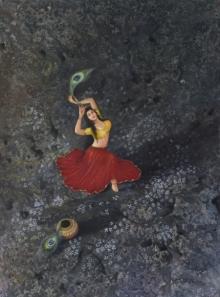 Religious Oil Art Painting title 'Devotee 2' by artist Durshit Bhaskar