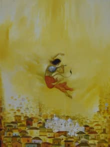Religious Oil Art Painting title 'Hanuman Ji' by artist Durshit Bhaskar