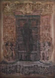 Religious Oil Art Painting title 'Krishna Shadow' by artist Durshit Bhaskar