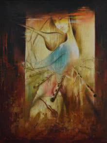 Religious Oil Art Painting title 'The Divine Love' by artist Durshit Bhaskar