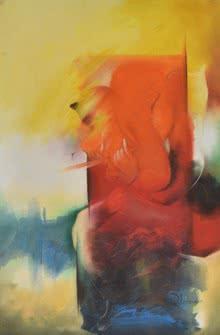 Religious Oil Art Painting title 'Ganesha Devendrashika' by artist Durshit Bhaskar
