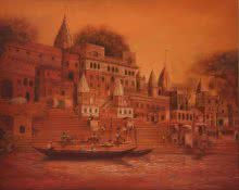 BANARAS GHAT | Painting by artist Durshit Bhaskar | oil | Canvas