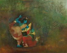Religious Oil Art Painting title 'Shiva' by artist Durshit Bhaskar