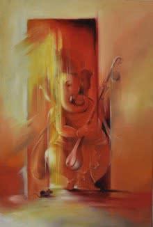 Religious Oil Art Painting title 'Ganesha Pitambara' by artist Durshit Bhaskar