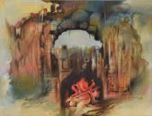 Religious Oil Art Painting title 'Ganesha Shashivarnam' by artist Durshit Bhaskar