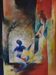 contemporary Oil Art Painting title Krishna Resonance by artist Durshit Bhaskar