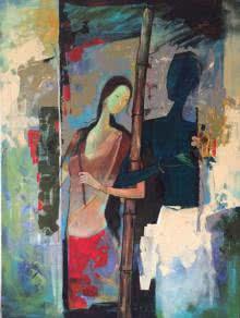 Figurative Mixed-media Art Painting title 'Radha and Krishna I' by artist Durshit Bhaskar