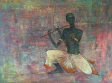 Figurative Mixed-media Art Painting title 'Krishna Playing Flute' by artist Durshit Bhaskar