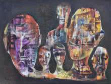 Expressionist Oil Art Painting title 'Masks' by artist Durshit Bhaskar