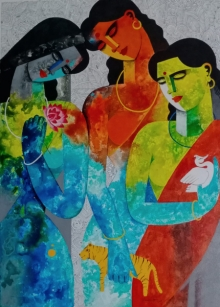 Figurative Acrylic Art Painting title 'Brave Sisters' by artist Appam Raghavendra