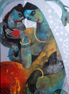 Figurative Acrylic Art Painting title 'Mother And Child' by artist Appam Raghavendra