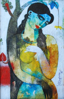 Figurative Acrylic Art Painting title 'Nature With Woman' by artist Appam Raghavendra