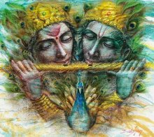 Darshan Sharma | Oil Painting title Radha Krishna I on Canvas | Artist Darshan Sharma Gallery | ArtZolo.com