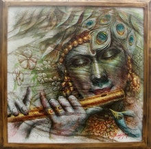 Religious Oil Art Painting title Krishna by artist Darshan Sharma