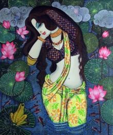 Figurative Acrylic Art Painting title 'Beauty And Lotus 3' by artist Varsha Kharatamal