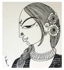 Figurative Ink Art Drawing title 'Woman' by artist Varsha Kharatamal