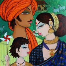 Figurative Acrylic Art Painting title 'Family' by artist Varsha Kharatamal