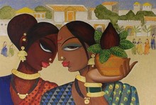 Figurative Acrylic Art Painting title 'Friends 1' by artist Varsha Kharatamal