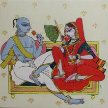 Figurative Acrylic Art Painting title 'Peshwa Couple' by artist Varsha Kharatamal