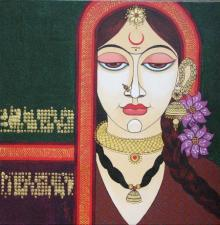 Figurative Acrylic Art Painting title 'Face 13' by artist Varsha Kharatamal