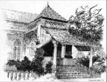 Scenic Pen Art Drawing title Zamindar House by artist Sankara Babu