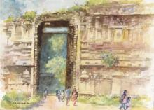 Nature Watercolor Art Painting title The Grand Entrance by artist Sankara Babu