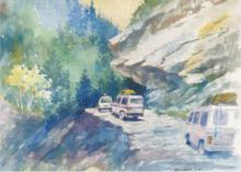 Nature Watercolor Art Painting title Mountain Road by artist Sankara Babu