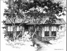 Pen Paintings | Drawing title The Solitary Hut on Paper | Artist Sankara Babu