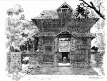 Scenic Pen Art Drawing title 'The Temple' by artist Sankara Babu