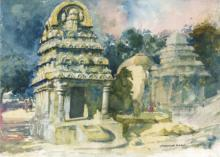 Scenic Watercolor Art Painting title Temple Watercolor by artist Sankara Babu